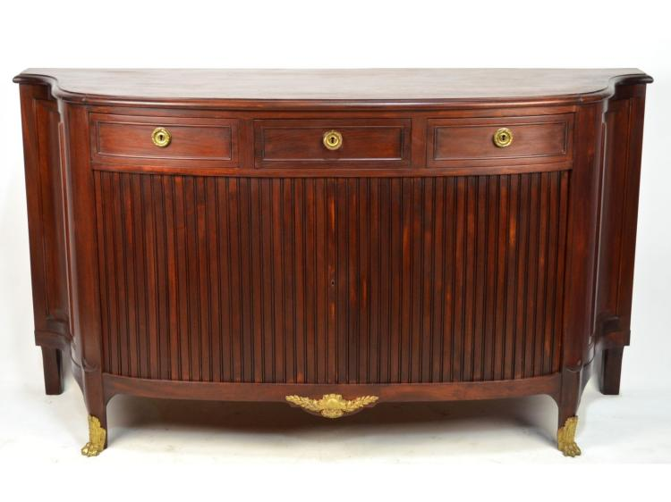 French Mahogany Louis XVI style Ormulu Mounted Sideboard Buffet