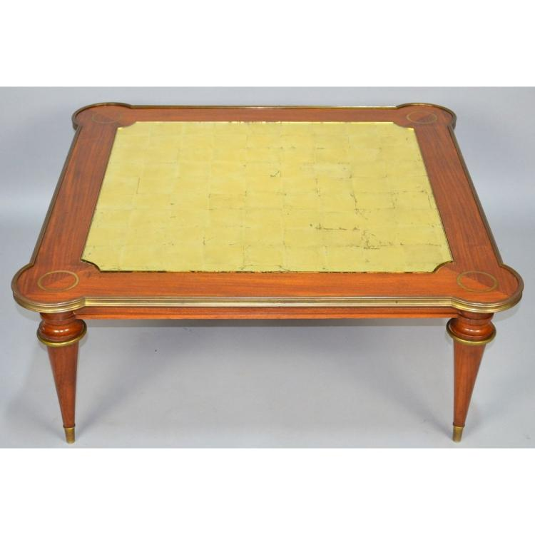 French Bronze Inlaid Mahogany Coffee Table with Eglomise Top