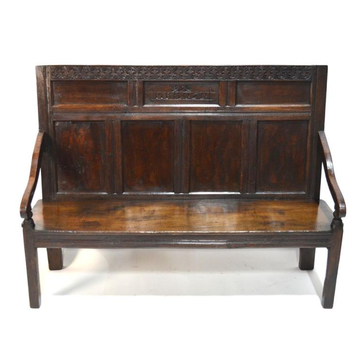 English Charles II Carved Oak Bench Settle, 17th Century