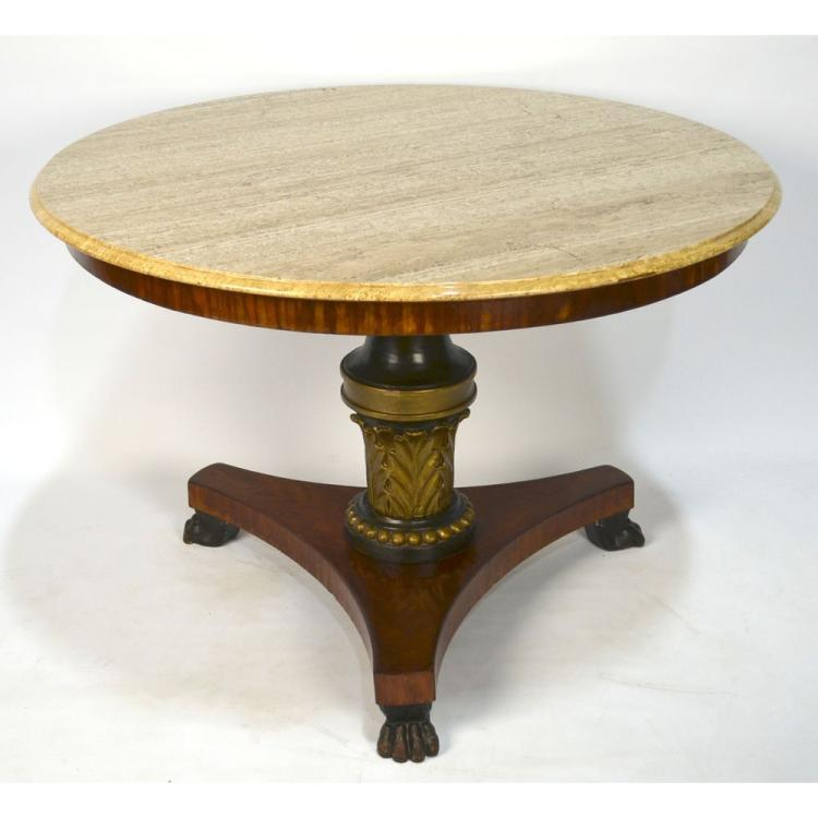 Elegant 19th century Regency Painted Parcel Gilt Mahogany Center Table