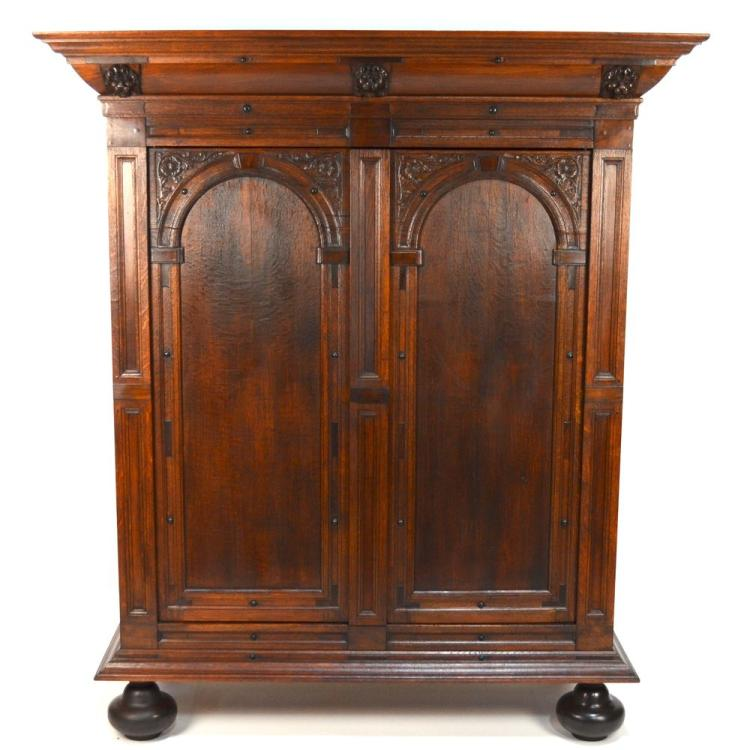 Antique Dutch Carved Oak Ebonized Cabinet