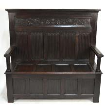French Antique Carved Oak Gothic Revival Bench