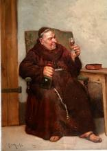 MONK ENJOYING A DRINK BY LUDOVIC MOUCHOT