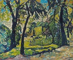 Hugo Scheiber (1873-1950) Detail of park Oil, paper, 27,5x35 cm Signed bottom right: Scheiber H
