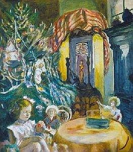 Istvan Csok (1865-1961) Christmas of Zuzu Oil, canvas, 70x62 cm Signed bottom left: Csok I.