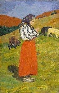 Oszkar Glatz (1872-1958) Shepard girl, 1906 Oil, canvas, 41,5x27 cm Signed bottom right: Glatz 906