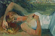 Paul Collomb (French 1921-2010) Woman Oil Painting
