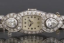 Ladies Diamond Platinum Hamilton Wristwatch