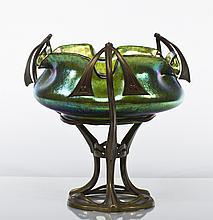 Loetz Art Nouveau Iridescent Glass & Bronze Bowl