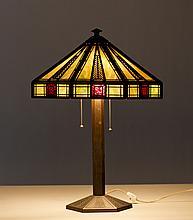 Signed Bradley & Hubbard Slag Glass Panel Lamp