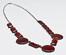 Art Deco Sterling Silver & Carnelian Necklace