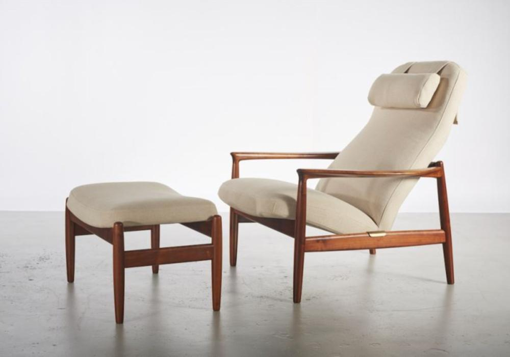Fine Folke Ohlsson Danish Teak Lounge Chair And Ottoman Pabps2019 Chair Design Images Pabps2019Com