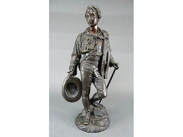 French 19C bronze figure of young traveling man by