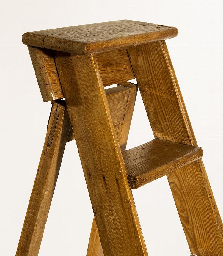 Miraculous Antique Pine English Folding Library Step Ladder Beatyapartments Chair Design Images Beatyapartmentscom