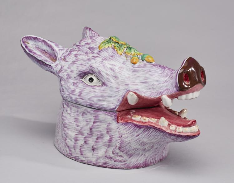 French Faience Majolica Boar's Head Tureen