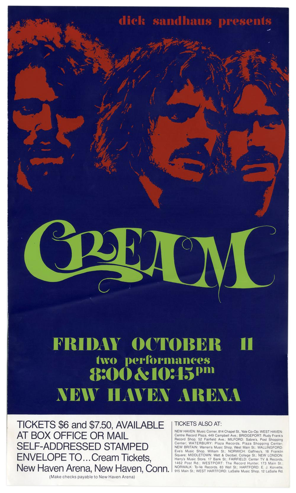 cream concert poster from october 1968 farewell tour