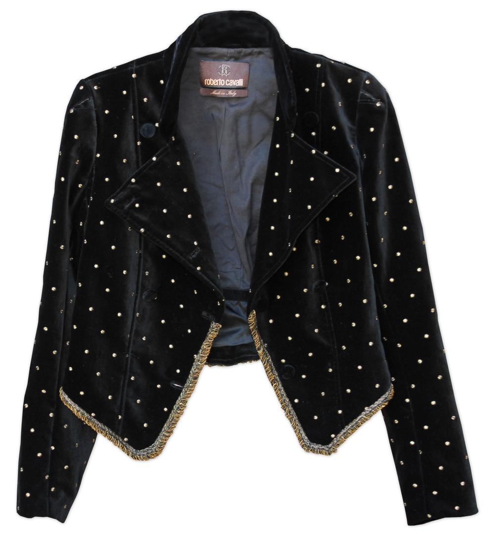 free shipping c610b 7ff7c Cher Worn Roberto Cavalli Black Velvet Jacket