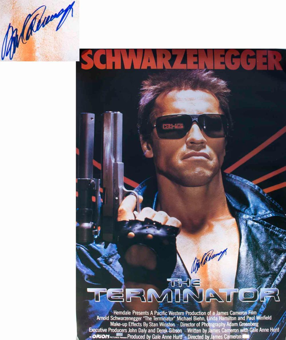 Arnold Schwarzenegger Signed Terminator Movie Poster