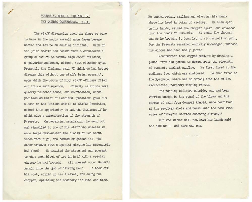 Unpublished Draft From Winston Churchill Memoir