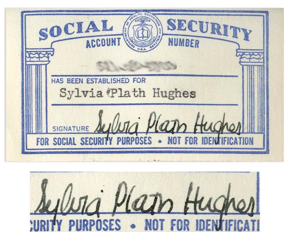 Sylvia Social Security Signed Plath Card
