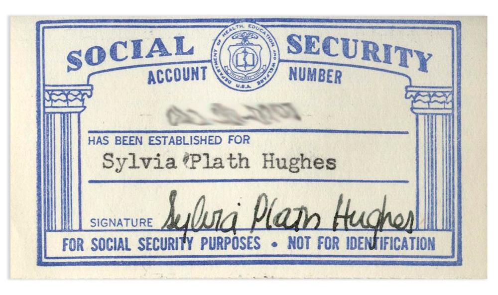 Signed Sylvia Plath Security Social Card