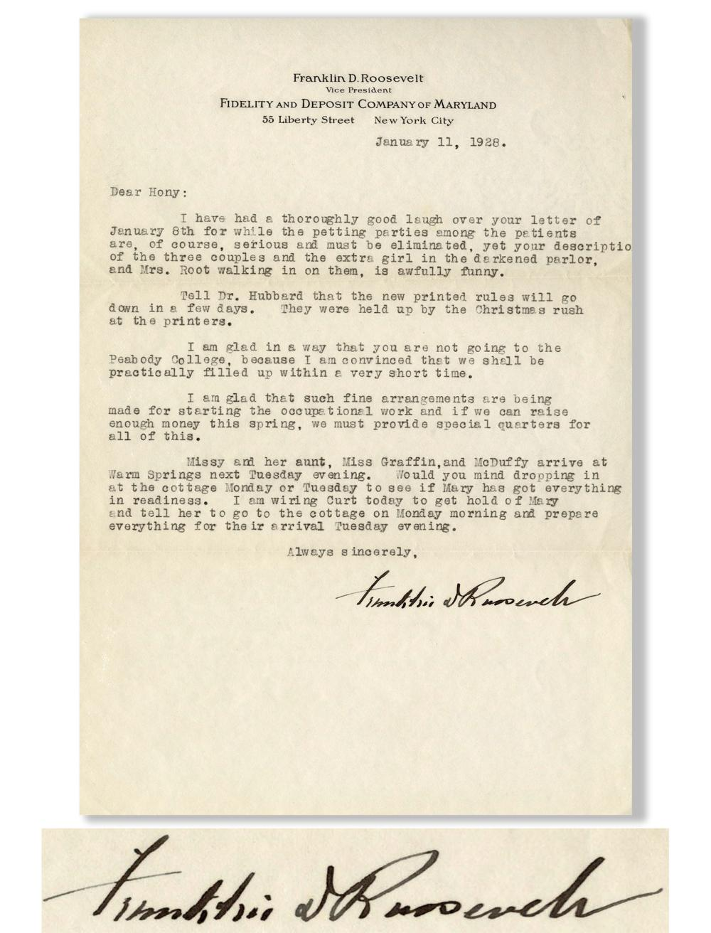 Franklin D Roosevelt Letter Signed to Physical Therapis