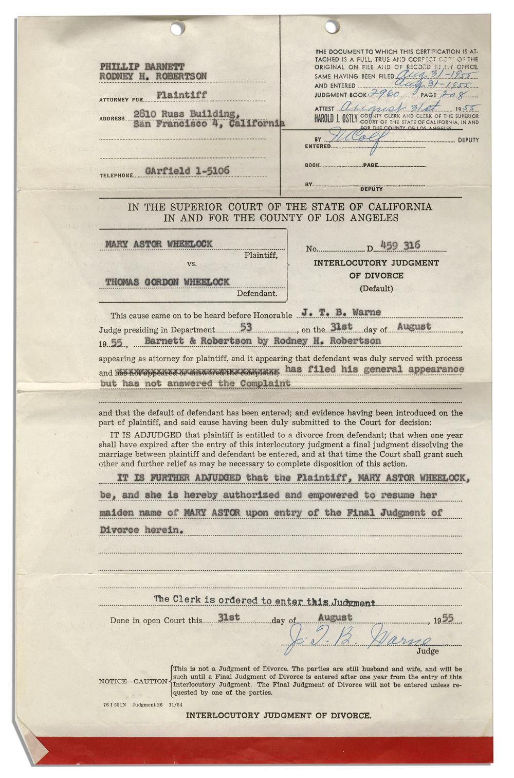 Mary Astor Divorce Certificate From Her Marriage 1955