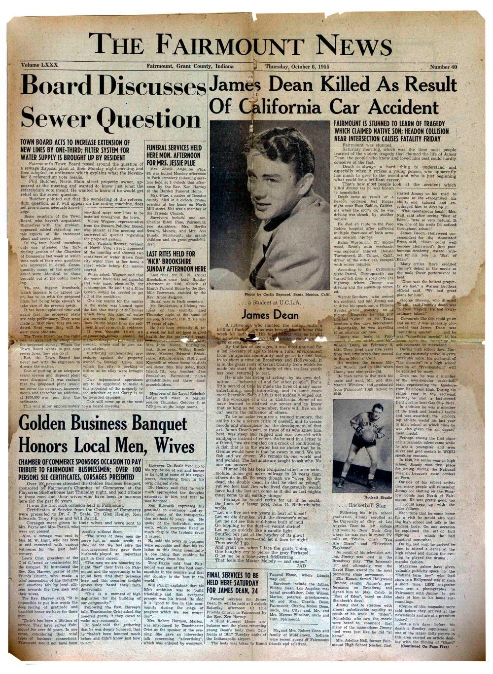 James Dean's Hometown Newspaper Announcing His Death
