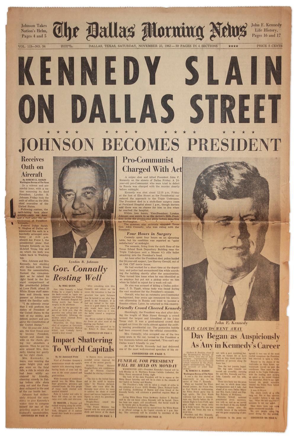 John F  Kennedy Assassination Newspaper