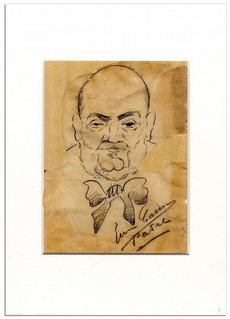 Opera Singer Enrico Caruso Hand-Drawn Caricature, Also Signed by Caruso
