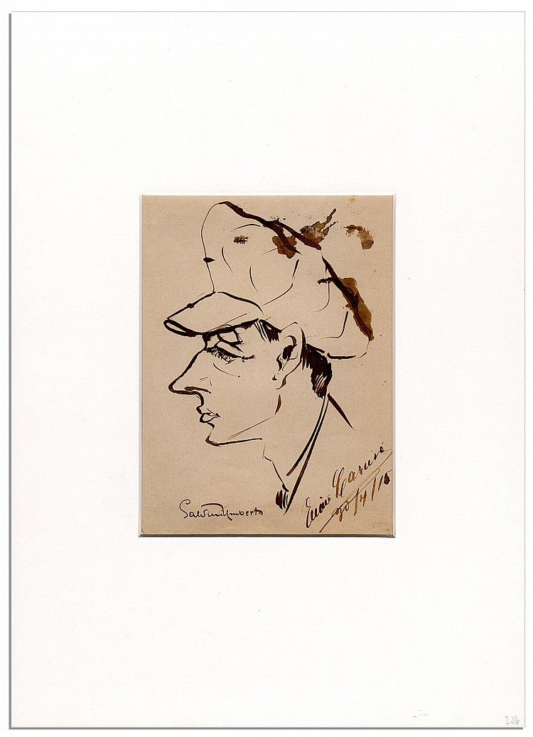 Art by Opera Great Enrico Caruso -- Bust Caricature Sketch in Profile