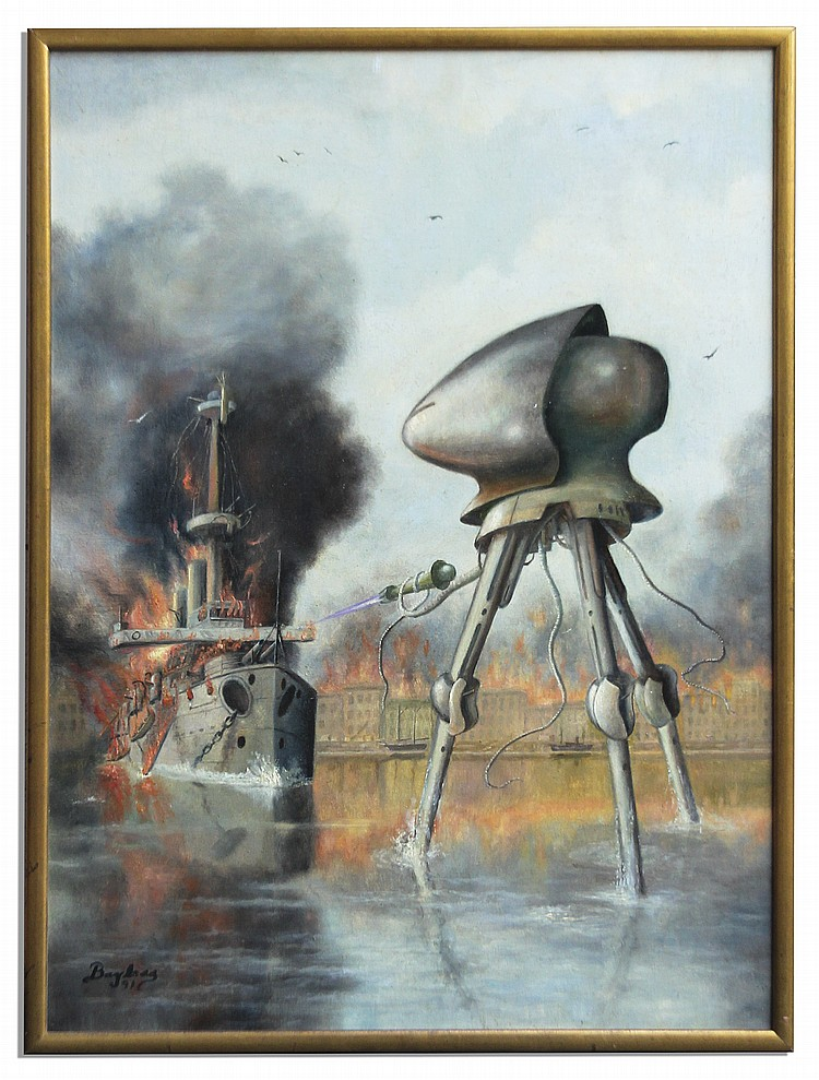Ray Bradbury Personally Owned Oil Painting by Raymond Bayless -- The Famous Martian Tripod vs. HMS Thunder Child Battle Scene From H.G. Wells' ''War of the Worlds''