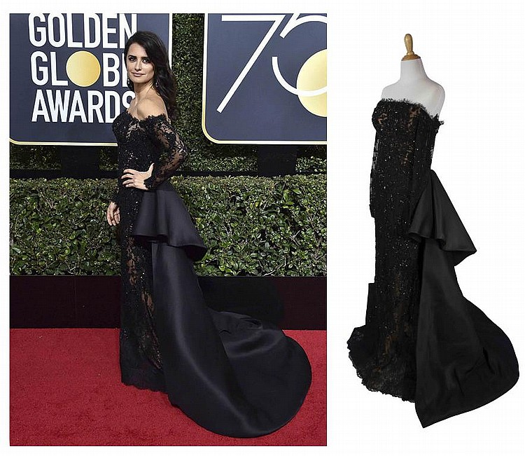 Penelope Cruz Time's Up Black Ralph and Russo Dress Worn at Golden Globe Awards