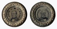John Bell & Edward Everett 1860 Campaign ''Doughnut'' Ferrotype