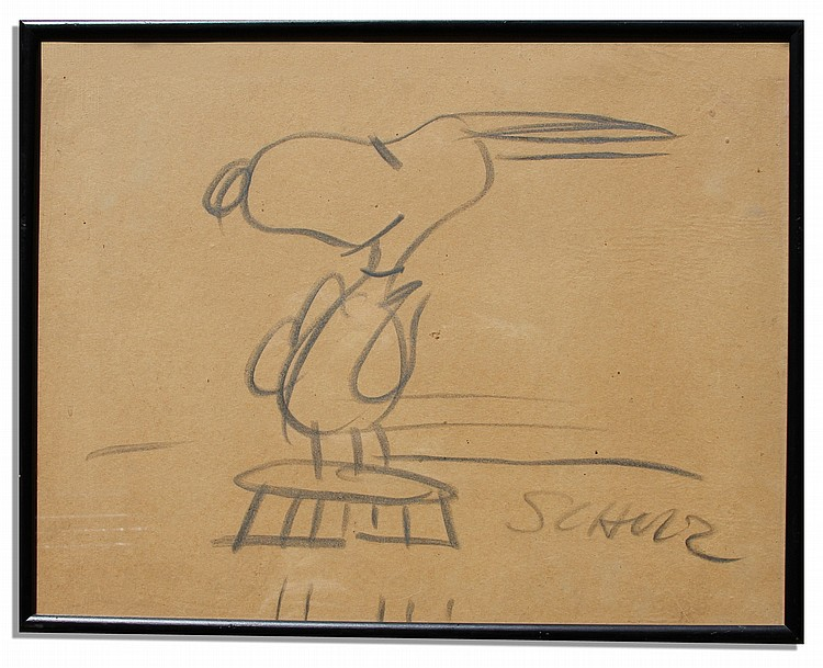 Charles Schulz Large Drawing of Snoopy -- Measures 18.75'' x 14.75''