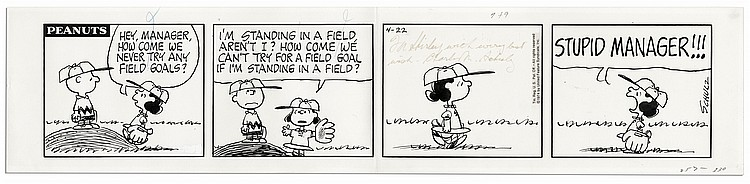 Charles Schulz ''Peanuts'' 4-Panel Comic Strip Featuring Charlie Brown & Lucy From 22 April 1974