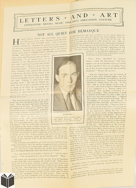 an overview of the war concept in the novel all quiet on the western front by erich maria remarque Erich maria remarque's famed world war i novel ''all quiet on the western front''  drew harsh criticism from the start this controversial book has.