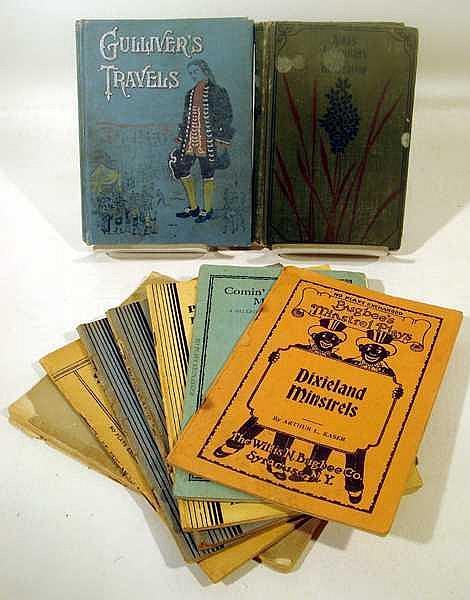 9V Minstrel Shows ANTIQUE ESTATE BOOKS Bugbee Hillbilly Comedy Hanley Stunts Georgetown Hills Swift Gulliver Lewis Carroll Alice Wonderland