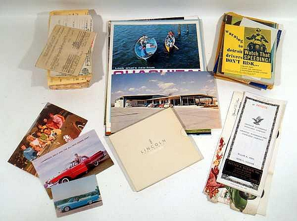 Dodge Chevrolet VINTAGE/ANTIQUE AUTOMOTIVE EPHEMERA Ford Lawrence Welk Postcards Advertisement Outdoors Campers Ouachita Permits Road Rules