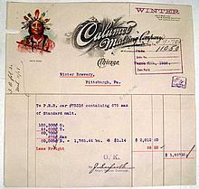 Lot 3022: Correspondence ANTIQUE ESTATE EPHEMERA Billheads Aetna Insurence Hotel Stationary Telegraph Native American Chromolithograph Brewery Financial