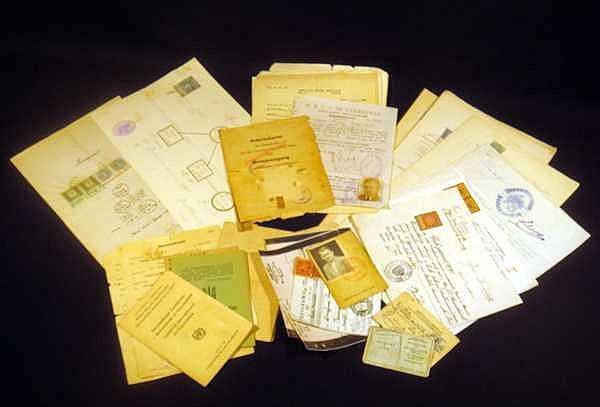 Nazi Work Permit Poland Ukrainian Birth Certificate (POST)WORLD WAR II DOCUMENTS International Refugee Organization South America INS Red Cross