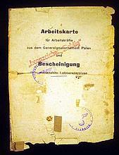 Lot 3020: Nazi Work Permit Poland Ukrainian Birth Certificate (POST)WORLD WAR II DOCUMENTS International Refugee Organization South America INS Red Cross