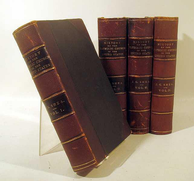 Lot 3091: 4V John Gilmary Shea HISTORY OF THE CATHOLIC CHURCH IN THE UNITED STATES 1886-1892 First Edition Antique Theology Plates Decorative Leather
