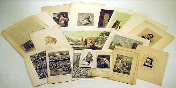 Architecture India ANTIQUE ORIGINAL ENGRAVINGS Mythic Scenes Pastoral Life Hand-Colored Portraiture Lucius Verus French Hotels