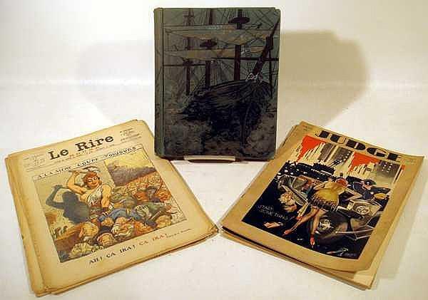Blue Jackets ANTIQUE ESTATE MAGAZINES & BOOK Civil War Navy Plates Judge French Language WWI La Rire Rough