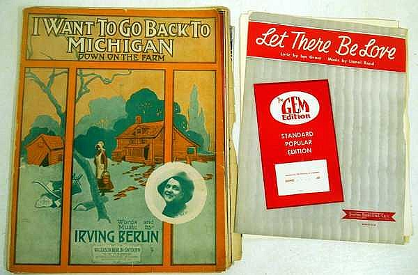 Lot 3111: 200Pcs Christmas Irving Berlin VINTAGE AND ANTIQUE SHEET MUSIC AND EPHEMERA Hans Christan Andersen Frank Loesser Rodgers and Hart Johnny Mercer Film Exodus World War II Praise The Lord And Pass The Ammunition Piano Organ Fox Trot Mary Martin Robert