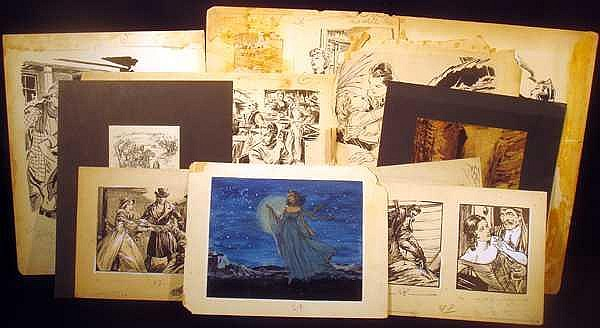 Lot 3153: 11Pcs Harry Kane Frontier Fantasy VINTAGE ADVERTISING ILLUSTRATION AND DESIGN Indians Cowboys Fairies Art Drafting Pencil Ink Mock-Ups Prints Kirchner Signed
