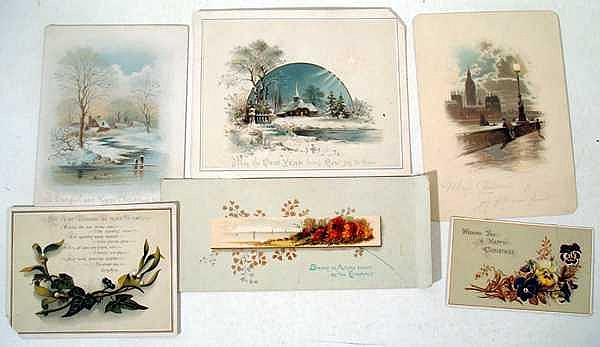 Lot 3018: Chromolithograph ANTIQUE POSTCARDS & ALBUM Embossed Religious Iconography Geography Waterfalls Landscape Marseille London Children Holiday