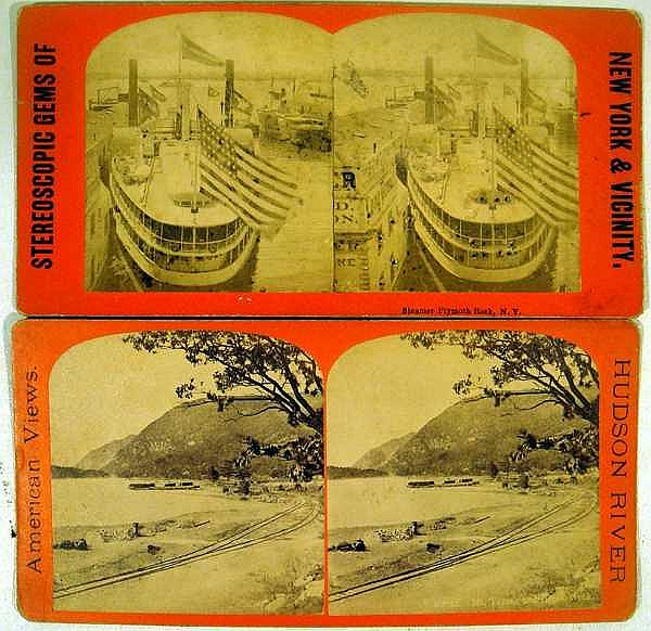 Lot 3019: 24Pcs NY State Railroad ANTIQUE STEROEVIEWS New York City Central Park Saratoga Parade Waterfall Waterways President McKinley Architecture Bridges
