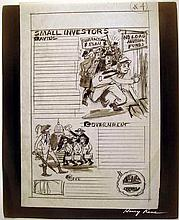 Lot 3016: 6Pcs Harry Kane Americana VINTAGE ADVERTISING ILLUSTRATION AND DESIGN Financial Wall Street Government Sol Siegel MGM Greeting Card White Picket Fence Suburbia Nuclear Family Culinary Children Sports Drafting Pencil Ink Mock-Ups Prints Kirchner